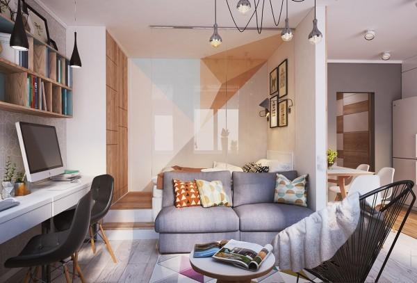 2016客厅电视背景墙装修 40平方时尚灰调简约小公寓