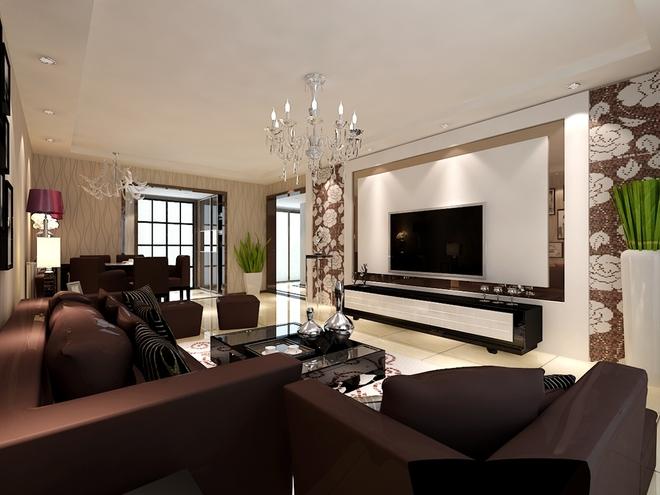 客厅吊的是平顶,简单的造型背景墙配上紫褐色的家具