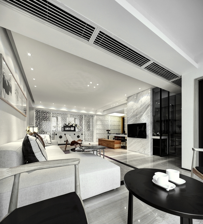 现代中式风110平米两厅三房两卫