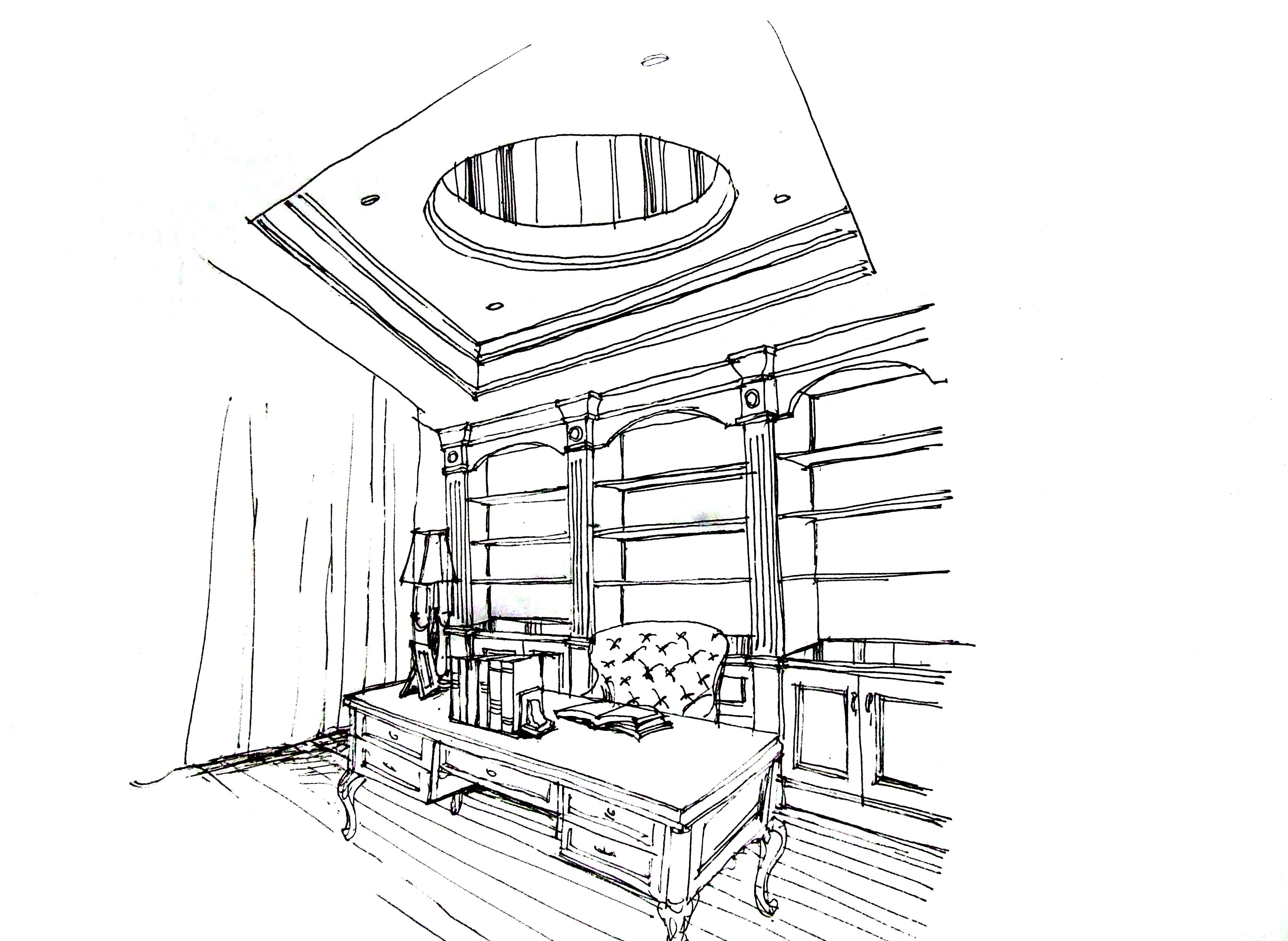 首席设计师手绘汤臣湖庭别墅装修案例