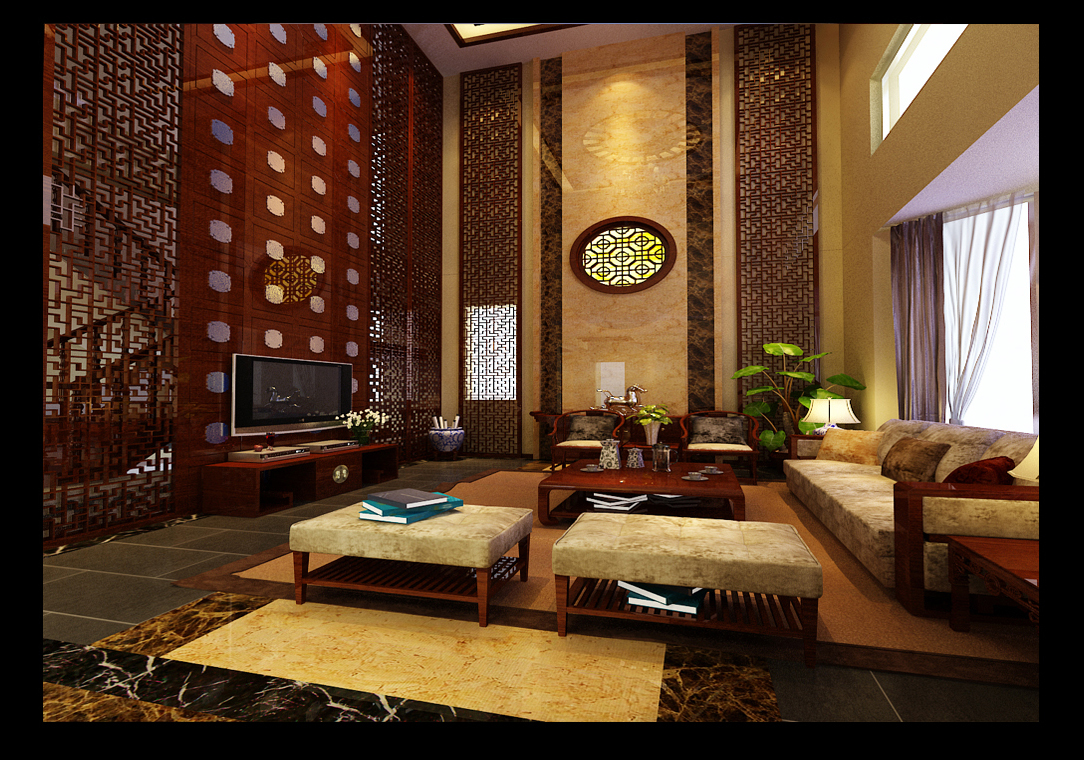新中式风格独栋别墅装修设计案例