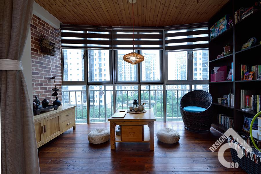 103平美式混搭三口之家 阳台改造成书房