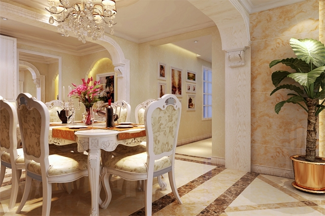 石家庄业之峰装饰 紫睿天和108平米两居室欧式风格装修效果图