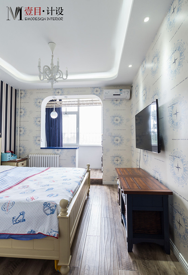 2016客厅电视背景墙装修 蓝色调 醉在地中海