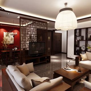 天山熙湖洋房140平米三居室新中式装修效果图