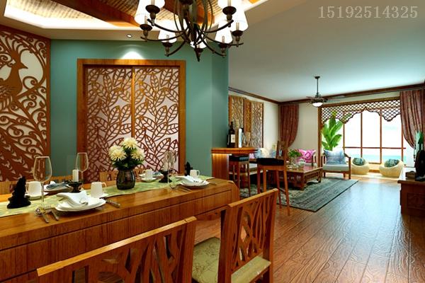 的东南亚风情 145平装修设计 青岛实创装饰