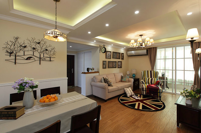 98平米新房装修 客厅电视背景墙装修 轻奢简欧