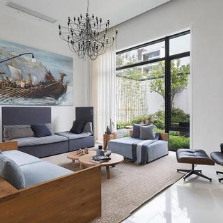 《简约之美又不缺乏设计感》300平米别墅设计现代简约装修效果图|龙发装饰别墅设计
