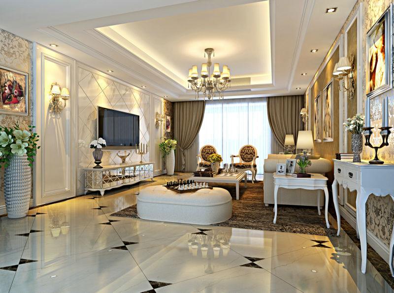 300平米简欧别墅设计:客厅背景墙有特点