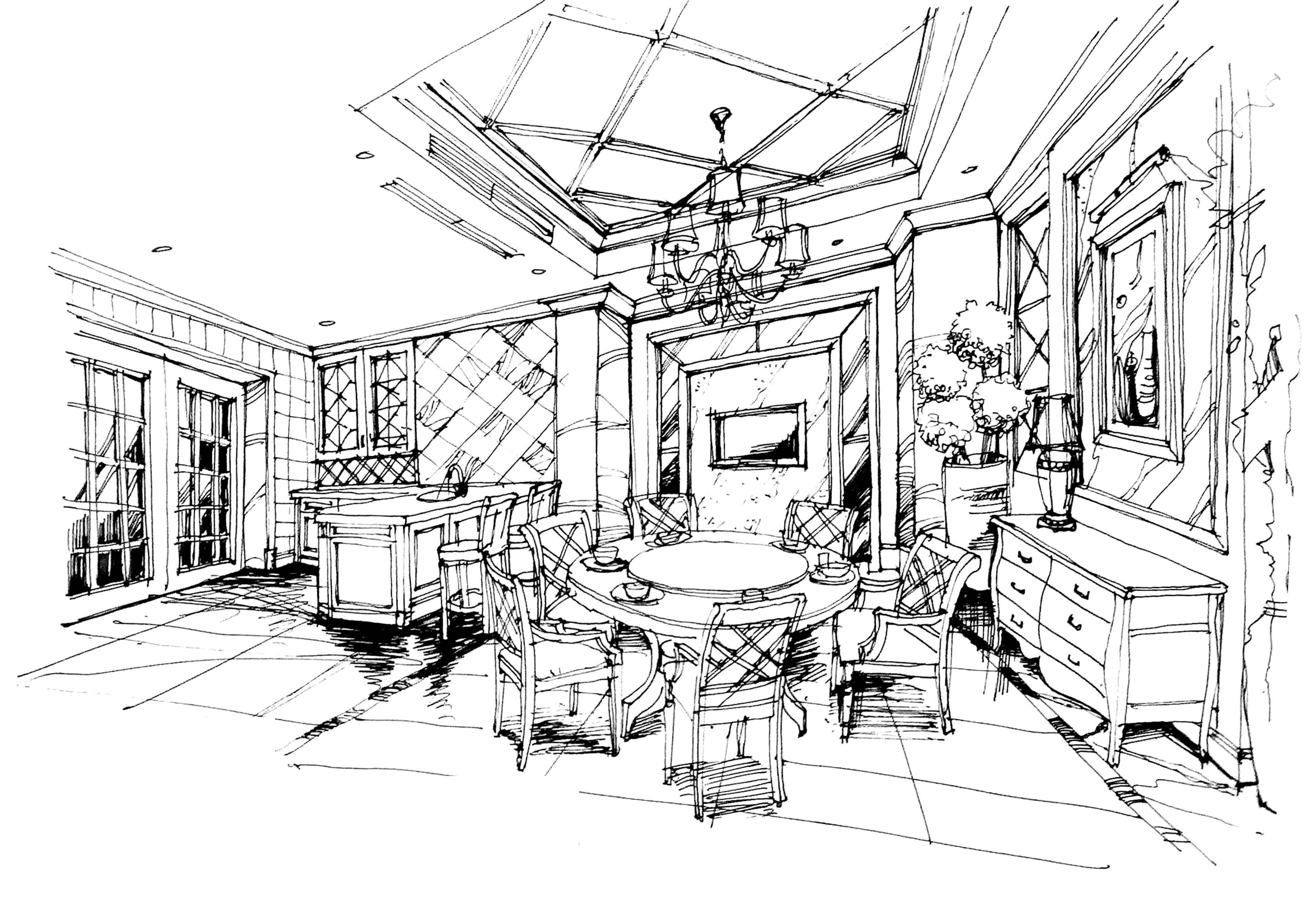 36.6万打造汤臣豪庭欧式风格装修手绘图