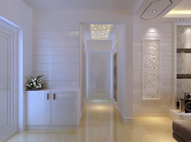 玻璃马赛克 镂空精美隔断 雕花石膏壁纸电视墙=白色浪漫二居室
