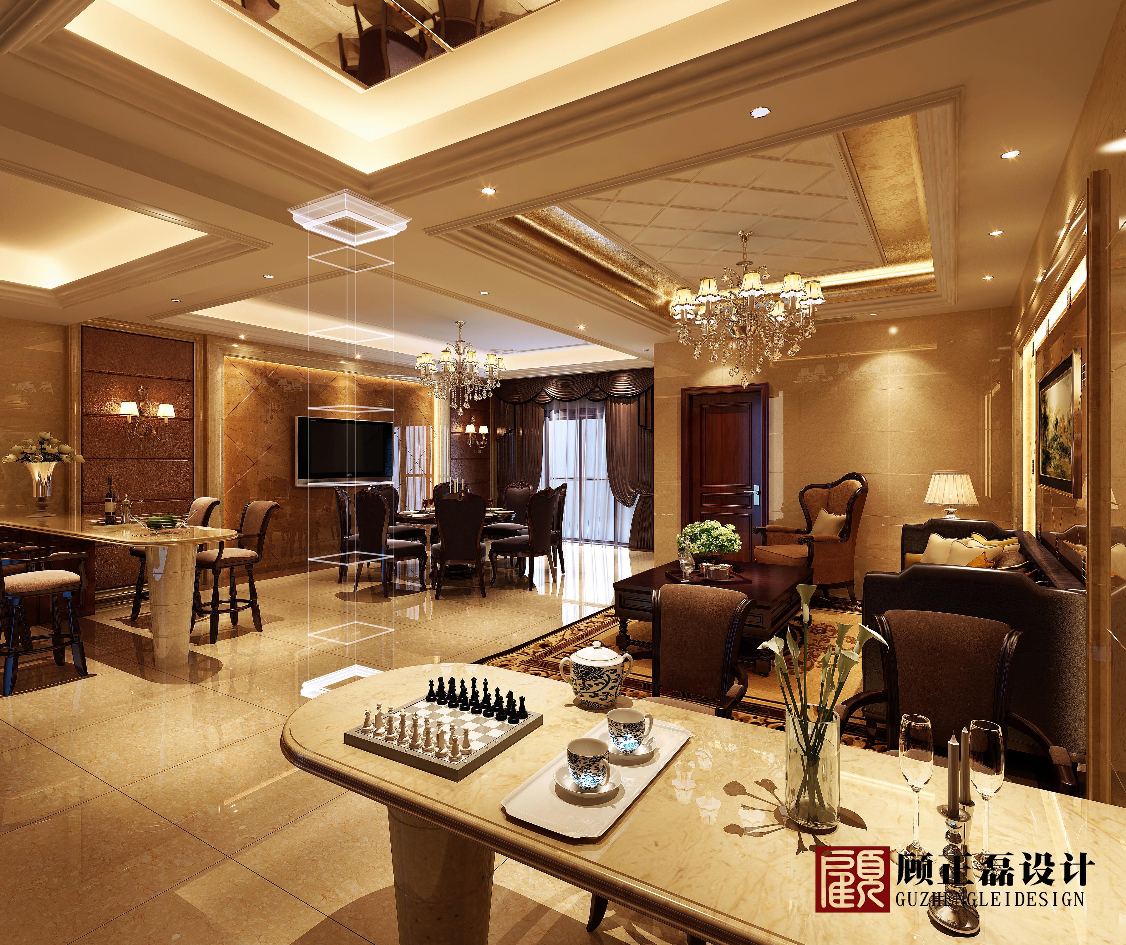 【顾正磊空间设计事务所】450平米怡景湾三层联体别墅欧式风格
