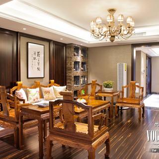 【杭州尚层别墅装饰实景案例】天意家园 现代奢华中式装饰