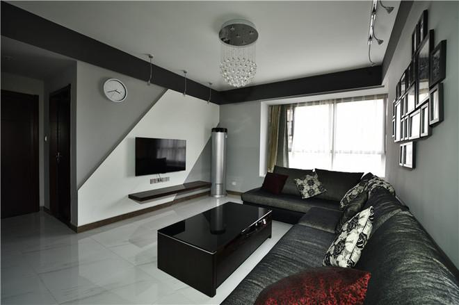 本案围绕简;是典型的现代简约风格,所采用黑白灰颜色,无疑给室内装饰