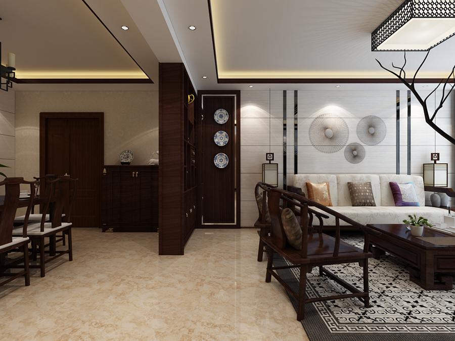 兴业小区110平米三房新中式风格装修案列图片