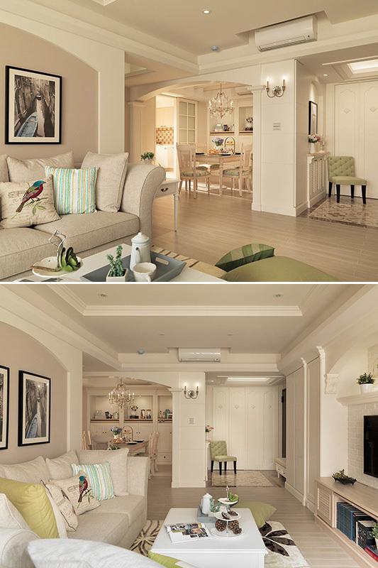 90平米现代简约客厅主卧室装修效果图 清新美式温润如水