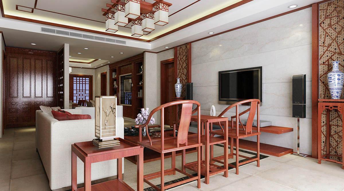 世茂湖滨花园大平层户型装修新中式风格设计!图片