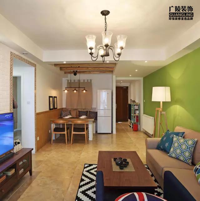 一抹灵动的绿,110平清新现代简装三居!